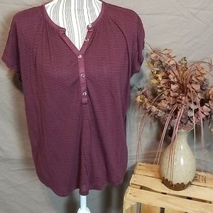 Lucky Brand Maroon Striped Partial Button Down